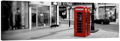 Phone Booth, London, England, United Kingdom Color Pop Canvas Print #ICA1193