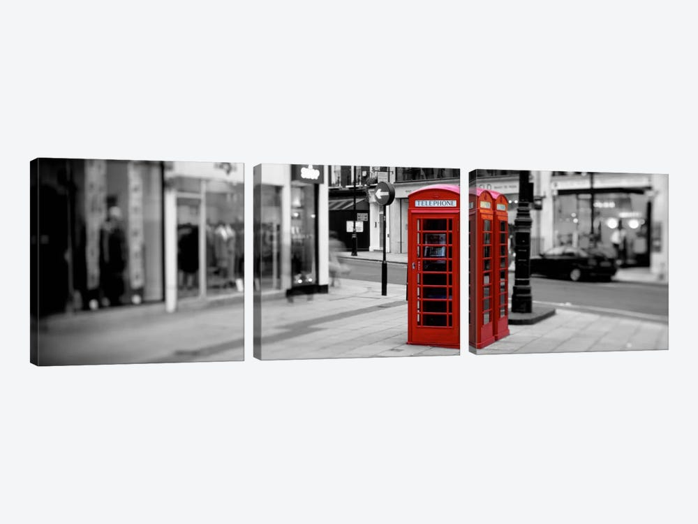 Phone Booth, London, England, United Kingdom Color Pop by Panoramic Images 3-piece Canvas Artwork