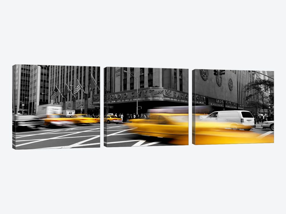Cars in front of a building, Radio City Music Hall, New York City, New York State, USA Color Pop by Panoramic Images 3-piece Art Print