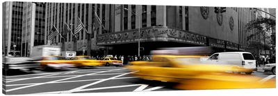 Cars in front of a building, Radio City Music Hall, New York City, New York State, USA Color Pop Canvas Art Print