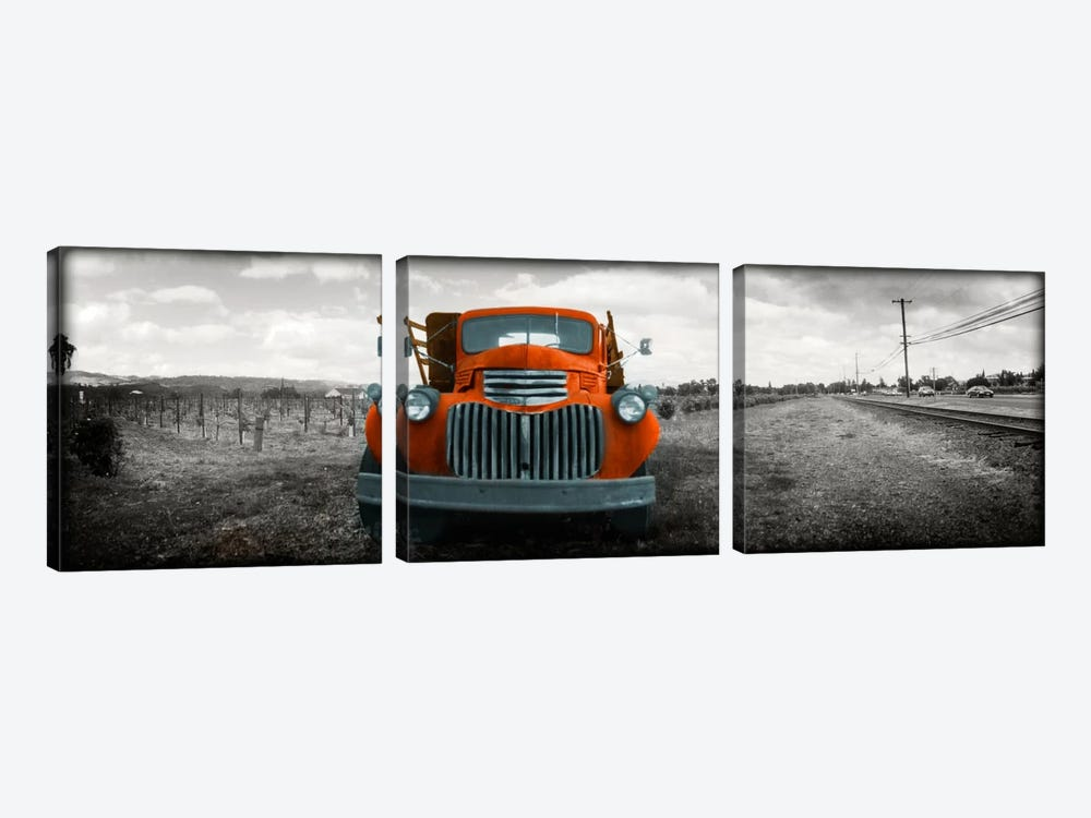 Old truck in a field, Napa Valley, California, USA Color Pop by Panoramic Images 3-piece Canvas Artwork