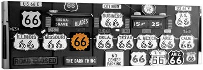 Route 66 Sign Collection Color Pop Canvas Art Print