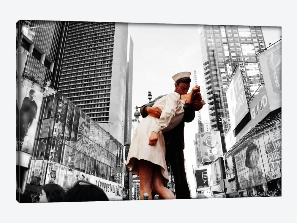 Sculpture in a city, V J Day, World War Memorial II, Times Square, Manhattan, New York City, New York State, USA Color Pop by Panoramic Images 1-piece Canvas Artwork