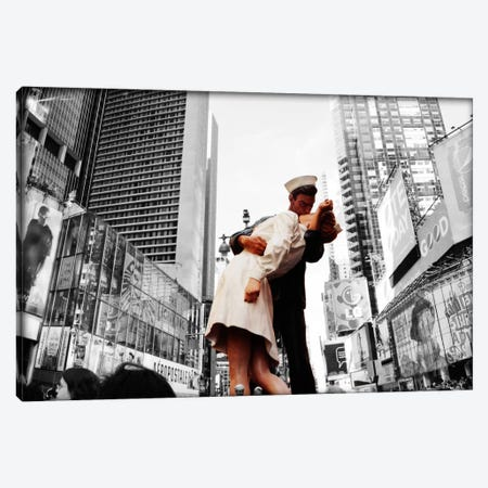 Sculpture in a city, V J Day, World War Memorial II, Times Square, Manhattan, New York City, New York State, USA Color Pop Canvas Print #ICA1200} by Panoramic Images Canvas Art Print