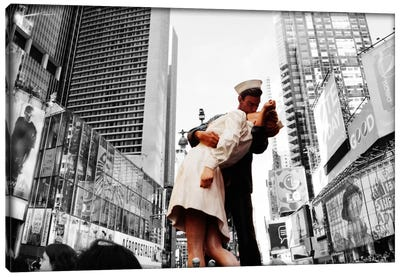 Sculpture in a city, V J Day, World War Memorial II, Times Square, Manhattan, New York City, New York State, USA Color Pop Canvas Art Print