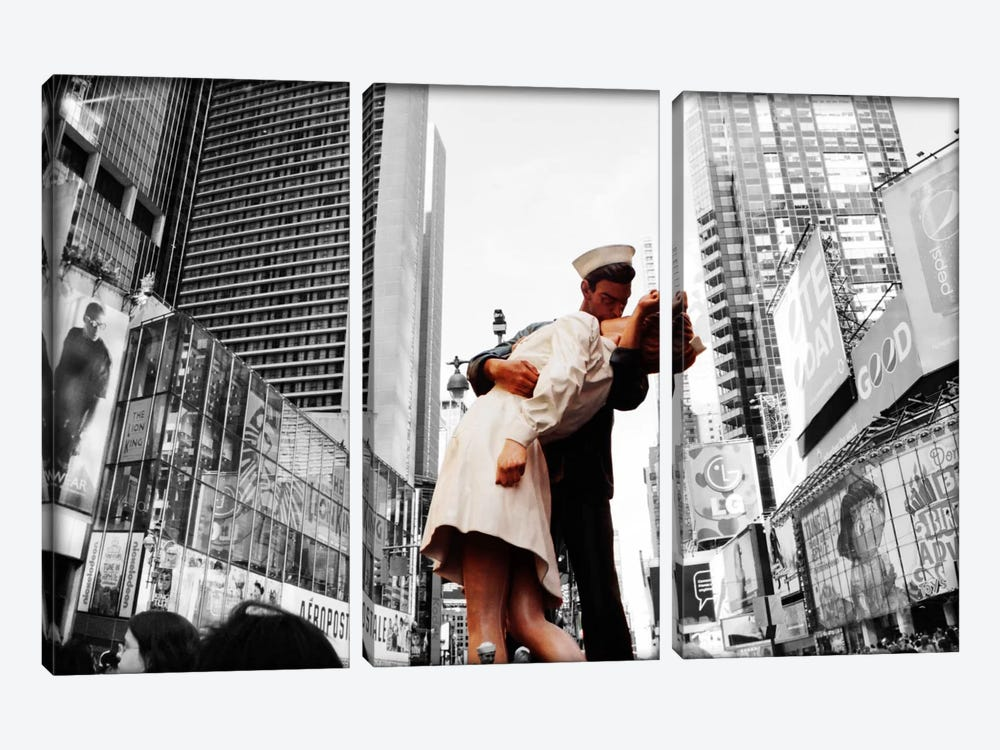 Sculpture in a city, V J Day, World War Memorial II, Times Square, Manhattan, New York City, New York State, USA Color Pop by Panoramic Images 3-piece Canvas Artwork