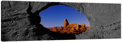 Natural arch on a landscape, Arches National Park Color Pop Canvas Art Print