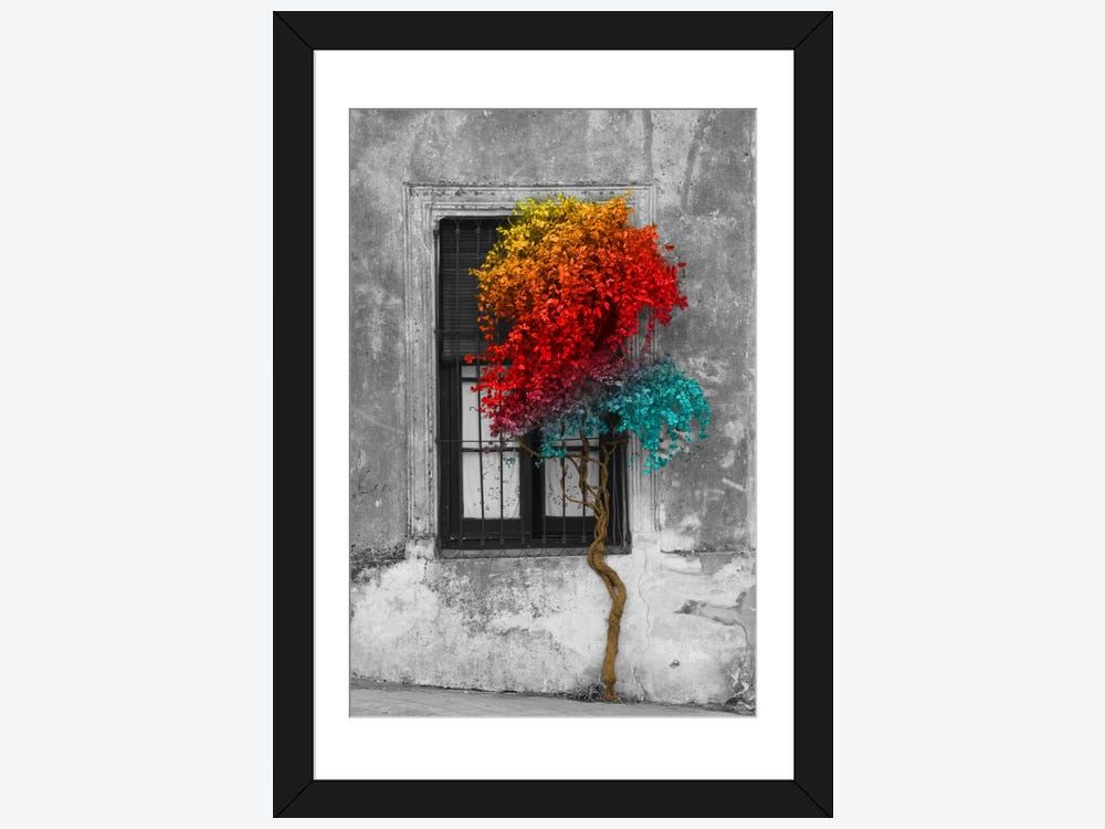 Tree In Front Of Window Rainbow Pop Color Pop Framed Print