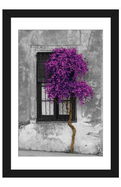 Tree in Front of Window Purple Pop Color Pop Framed Art Print