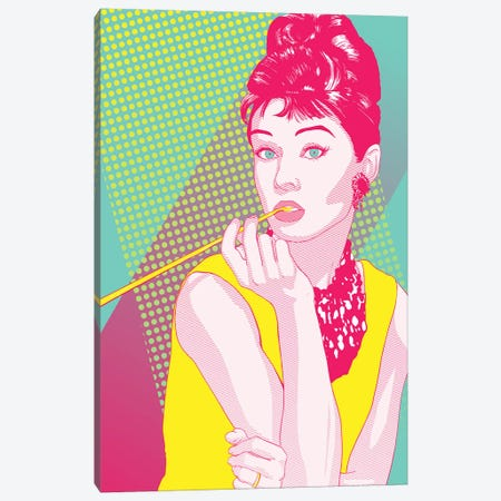 Audrey Yellow and Pink Color Pop Canvas Print #ICA1225} by 5by5collective Canvas Art