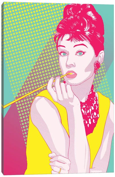 Audrey Yellow and Pink Color Pop Canvas Print #ICA1225