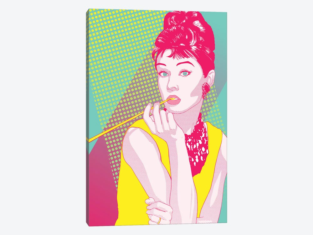 Audrey Yellow and Pink Color Pop by 5by5collective 1-piece Canvas Art Print