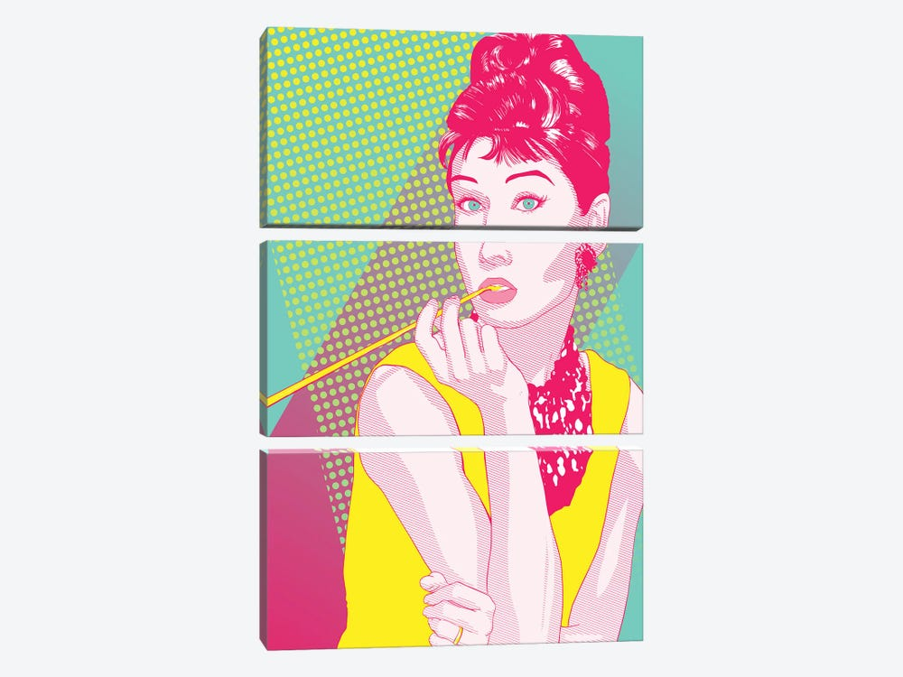 Audrey Yellow and Pink Color Pop by 5by5collective 3-piece Art Print