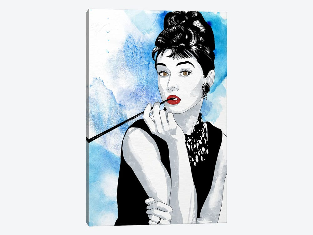 Audrey Watercolor Color Pop by 5by5collective 1-piece Canvas Print