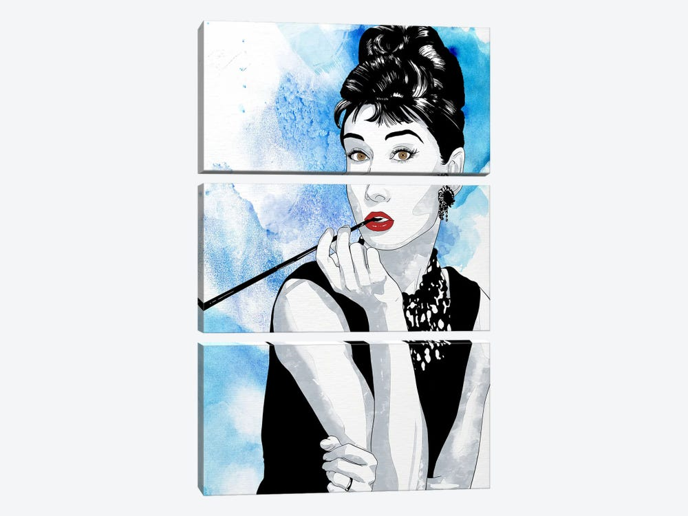 Audrey Watercolor Color Pop by 5by5collective 3-piece Canvas Print