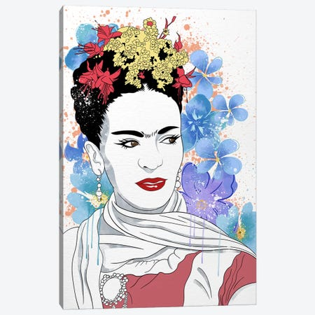 Frida Flower Color Pop Canvas Print #ICA1241} by 5by5collective Art Print