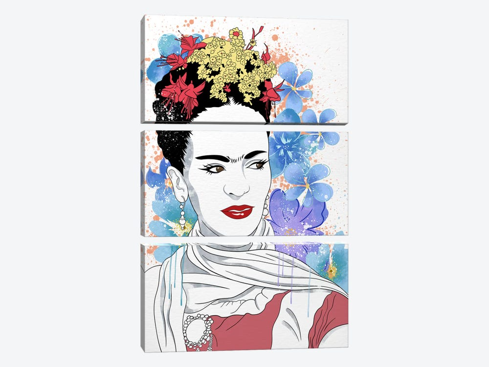 Frida Flower Color Pop by 5by5collective 3-piece Art Print