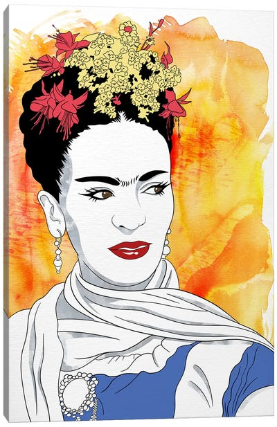 Frida Watercolor Color Pop Canvas Art Print