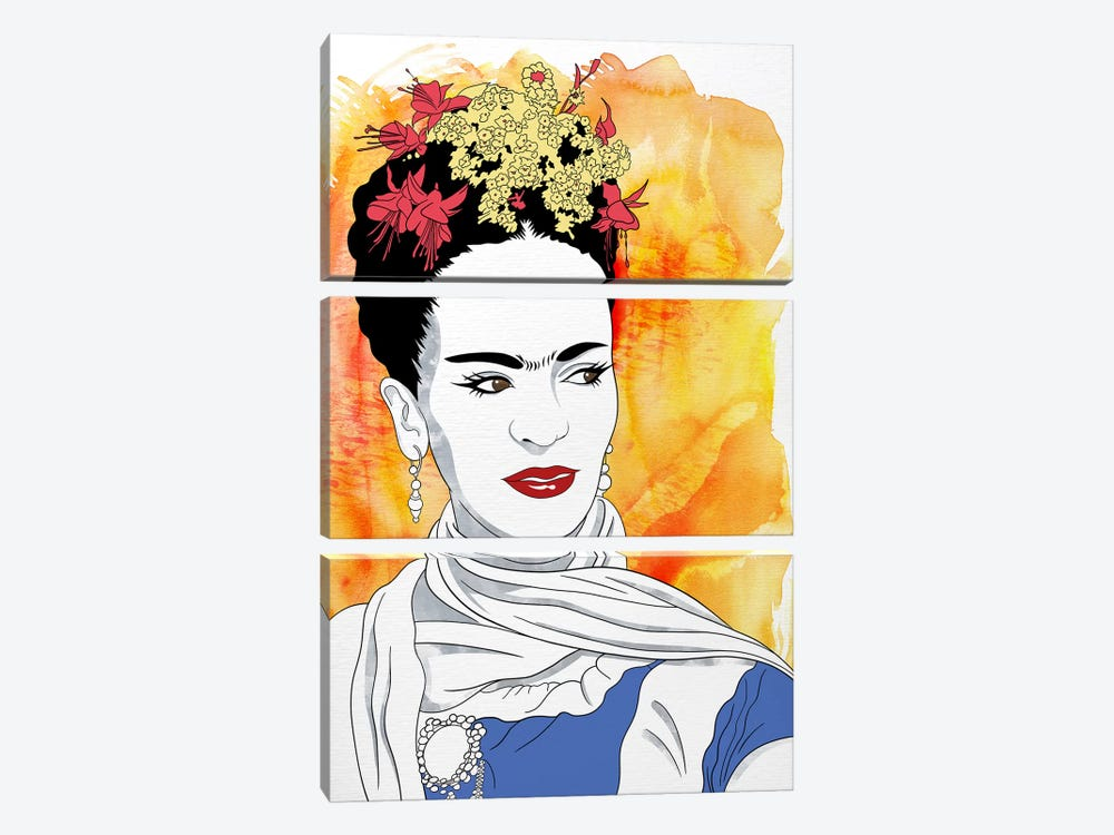 Frida Watercolor Color Pop by 5by5collective 3-piece Canvas Artwork