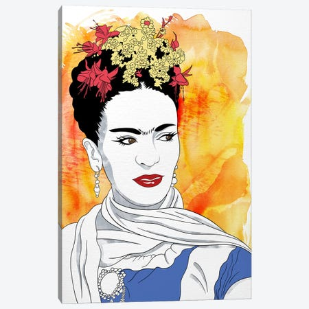 Frida Watercolor Color Pop Canvas Print #ICA1242} by 5by5collective Canvas Print