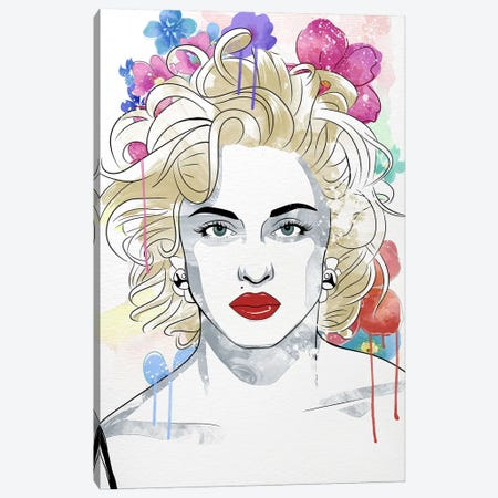 Madonna Queen of Pop Flower Color Pop Canvas Print #ICA1252} by 5by5collective Canvas Artwork