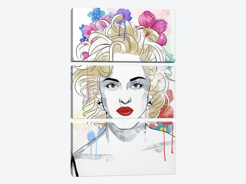 Madonna Queen of Pop Flower Color Pop by 5by5collective 3-piece Canvas Print