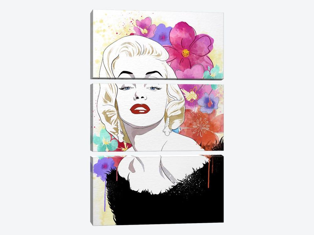 Va Va Voom Flower Color Pop by 5by5collective 3-piece Canvas Artwork