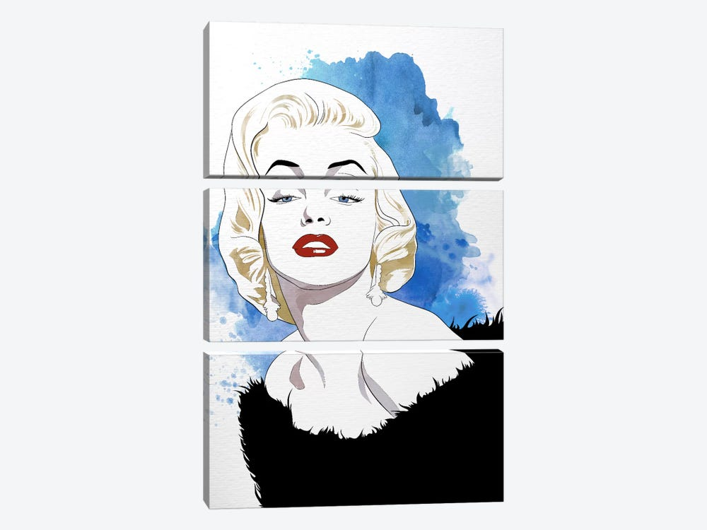 Va Va Voom Watercolor Color Pop by 5by5collective 3-piece Canvas Artwork