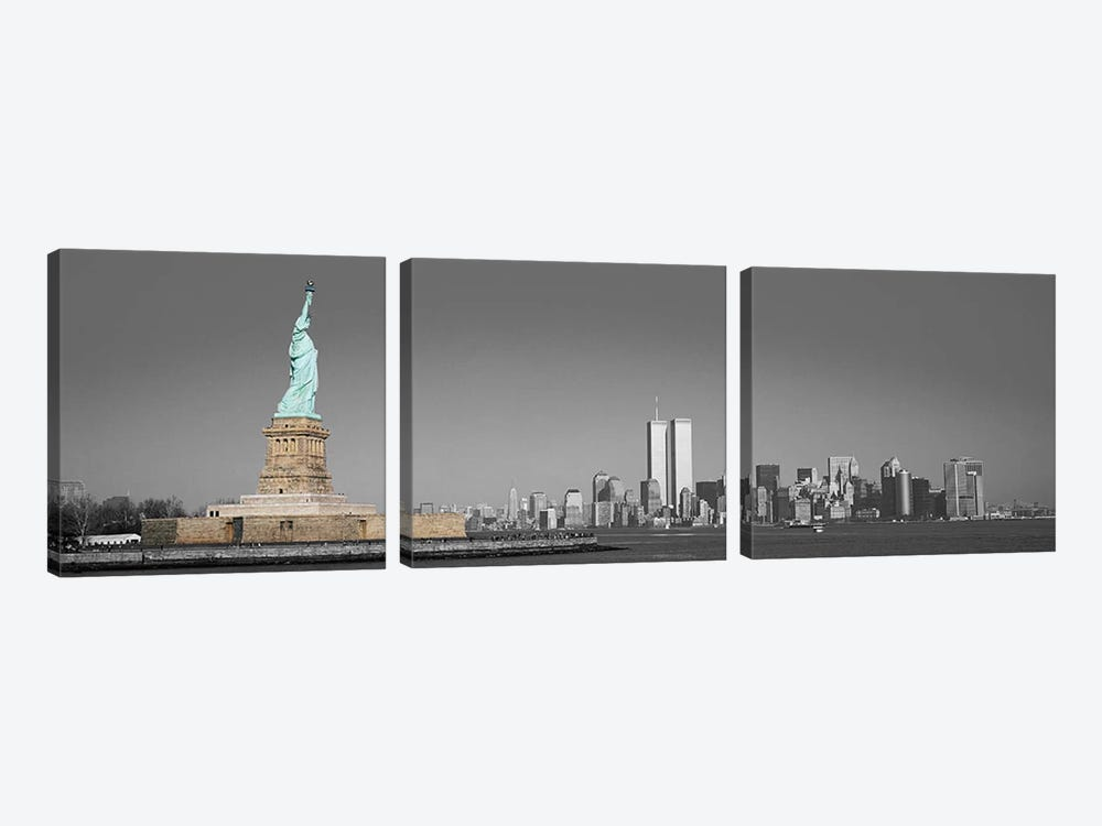 New York Panoramic Skyline Cityscape Color Pop 3-piece Canvas Artwork