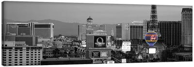 Las Vegas Panoramic Skyline Cityscape (Night) Color Pop Canvas Print #ICA1266