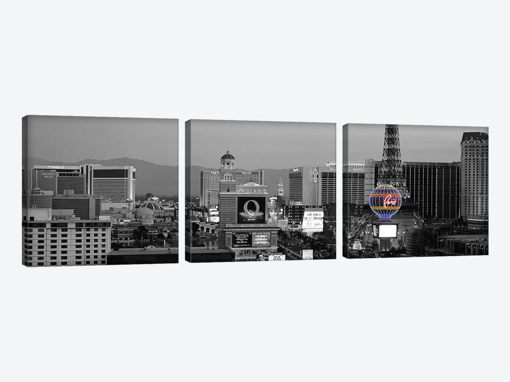 Las Vegas Panoramic Skyline Cityscape (Night) Color Pop 3-piece Canvas Artwork