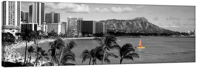 Waikiki Beach, Honolulu, Hawaii, USA Color Pop Canvas Art Print