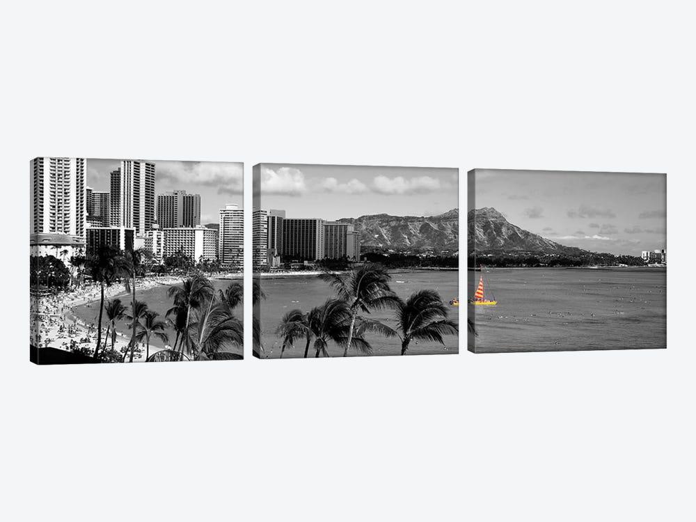 Waikiki Beach, Honolulu, Hawaii, USA Color Pop by Panoramic Images 3-piece Canvas Artwork