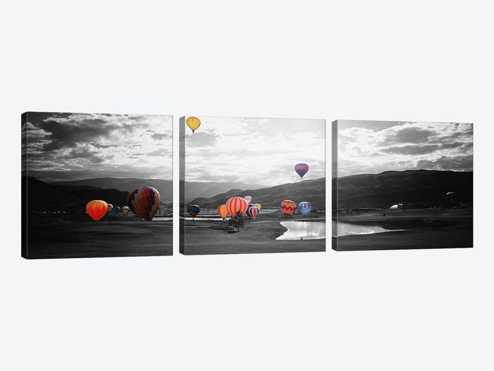 Hot Air BalloonsSnowmass, Colorado, USA Color Pop by Panoramic Images 3-piece Canvas Art