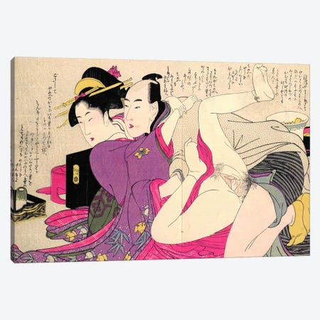 Geisha In A Long-Sleeved Kimono With Her Lover Canvas Print #ICA1291} by Kitagawa Utamaro Canvas Artwork