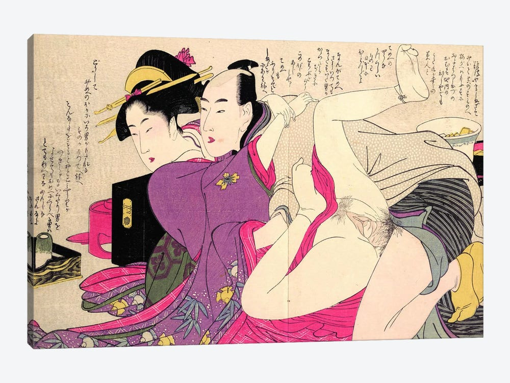 Geisha In A Long-Sleeved Kimono With Her Lover by Kitagawa Utamaro 1-piece Canvas Wall Art