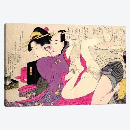 Geisha In A Long-Sleeved Kimono With Her Lover Canvas Print #ICA1291} by Kitagawa Utamaro Canvas Artwork