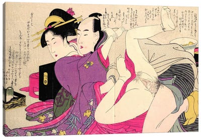 Geisha In A Long-Sleeved Kimono With Her Lover Canvas Art Print