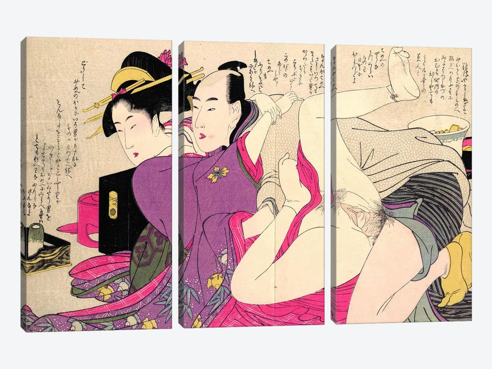 Geisha In A Long-Sleeved Kimono With Her Lover by Kitagawa Utamaro 3-piece Canvas Artwork