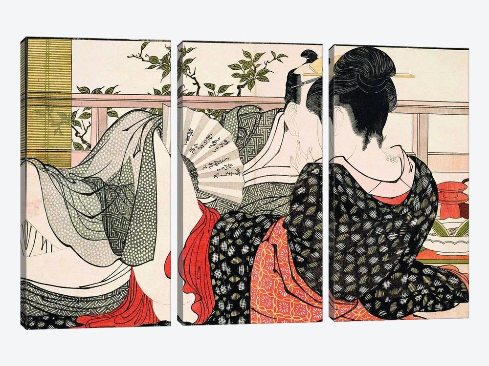 The Way Of The Meshimori (Print #10 From Utamakura) by Kitagawa Utamaro 3-piece Canvas Art