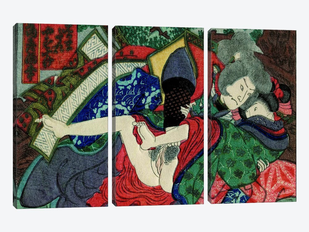 Shunga by Unknown Artist 3-piece Canvas Art Print