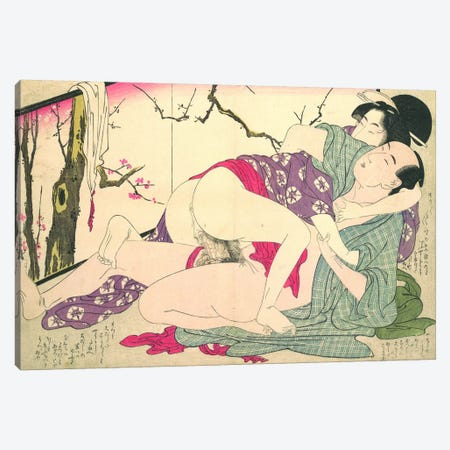 Bare Couple Next To A Room Screen Canvas Print #ICA1299} by Kitagawa Utamaro Canvas Artwork