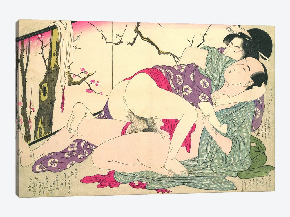 Bare Couple Next To A Room Screen by Kitagawa Utamaro 1-piece Canvas Artwork