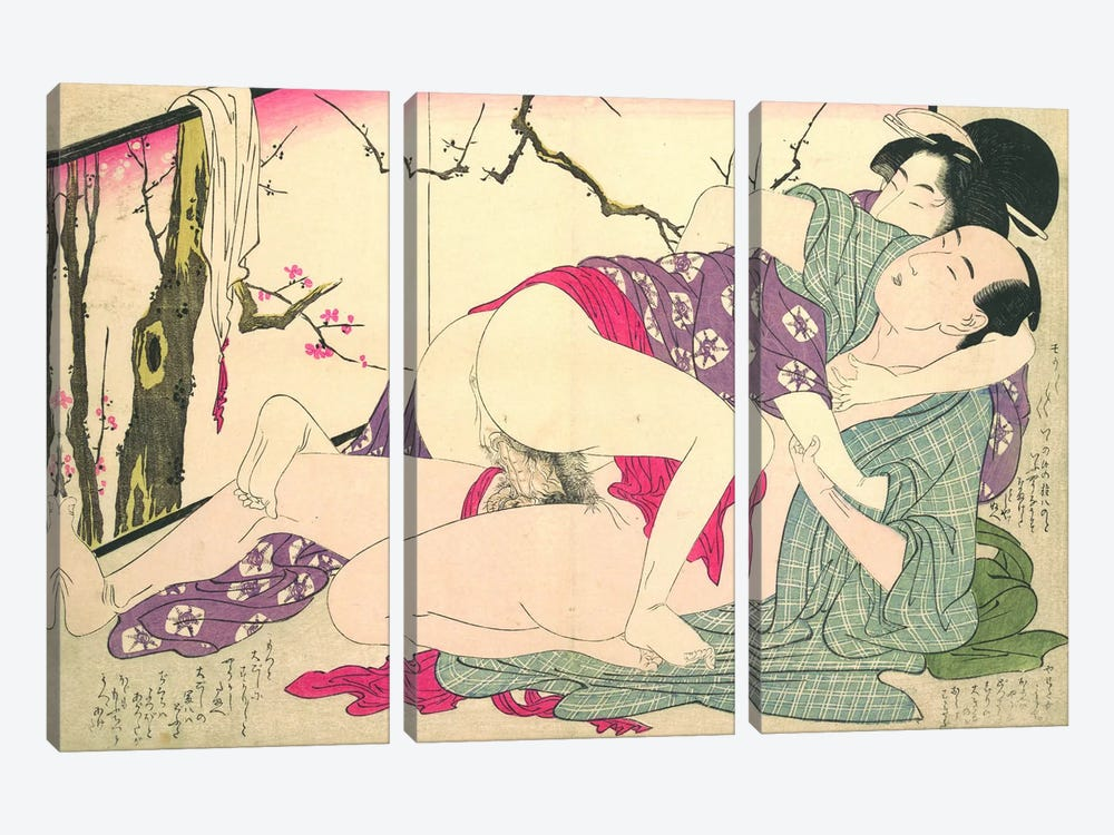 Bare Couple Next To A Room Screen by Kitagawa Utamaro 3-piece Canvas Artwork