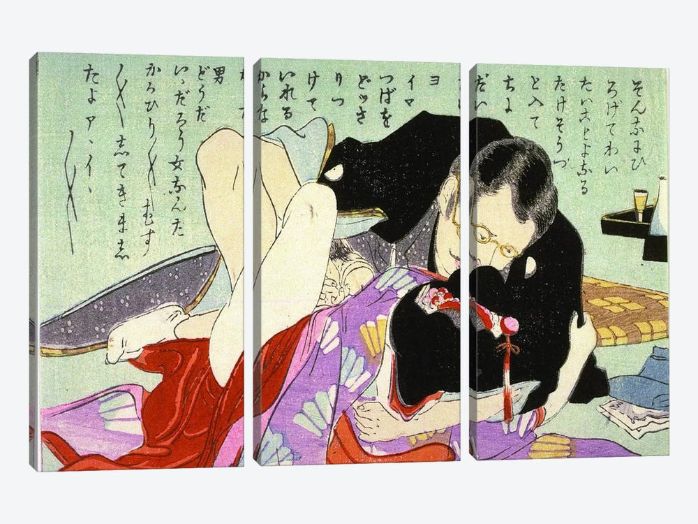Meiji Period Shunga by Unknown Artist 3-piece Art Print