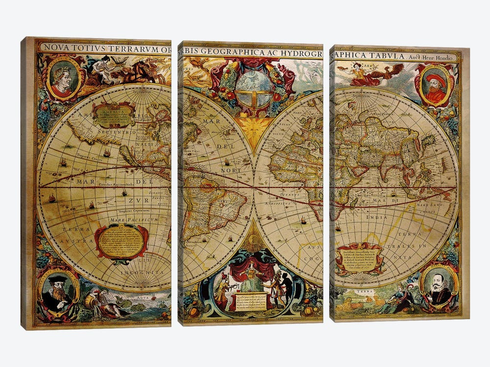 Victorian Geographica by Unknown Artist 3-piece Canvas Artwork
