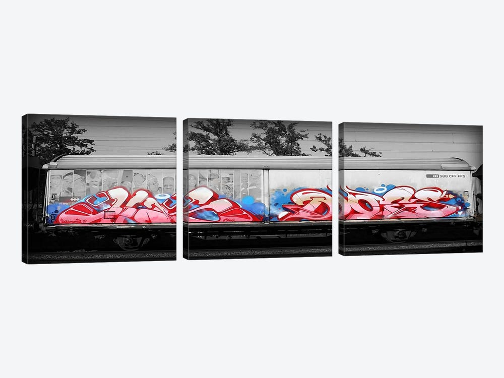 Graffiti Bomb by 5by5collective 3-piece Canvas Art Print