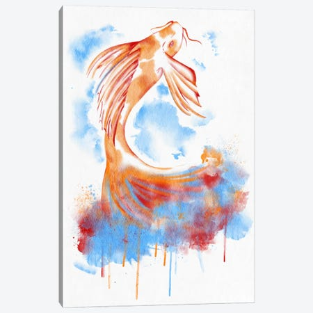 Watercolor Flying Fish Canvas Print #ICA134} by Unknown Artist Art Print