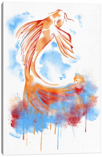 Watercolor Flying Fish Canvas Art Print
