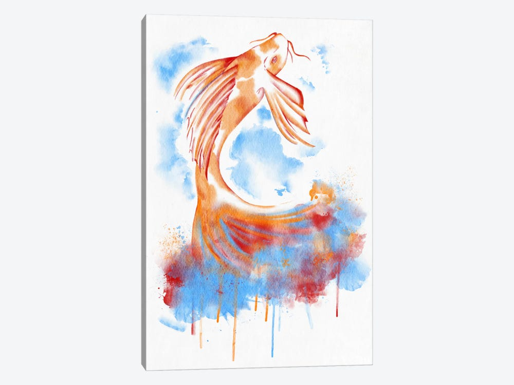 Watercolor Flying Fish by Unknown Artist 1-piece Canvas Art